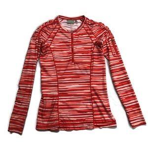 Athleta Top 1/4 Zip Shirt Running Long Sleeves Red